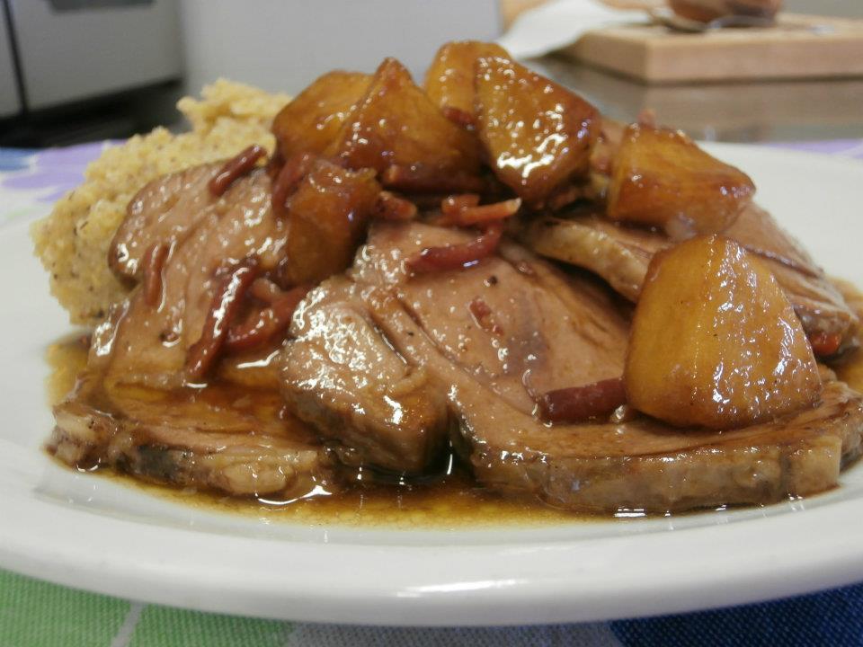 arrosto con funghi, patate e polenta